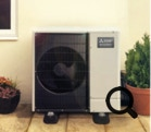 Outdoor heat pump fan unit heating the Boilermate A-Class Ecodan
